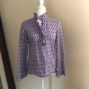 Tory Burch Button Down Popover Ruffle Shirt Purple